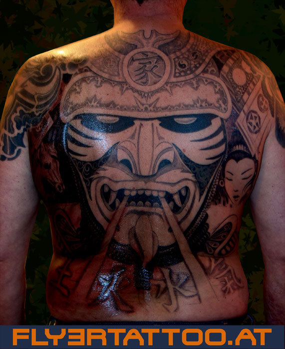 samurai tattoo maske am r cken flyer tattoo studio wien. Black Bedroom Furniture Sets. Home Design Ideas