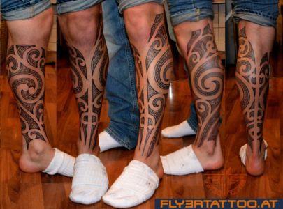 Maori Tattoo  Männer Fuß Unterschenkel